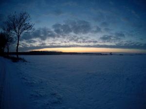 Zimowy pejzaż miejscowość Leszcz niedaleko Torunia